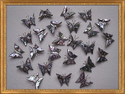 LOT of 10 STERLING SILVER BUTTERFLY PENDANTS - COLORFUL SHELL INLAY (P182/10-SS)