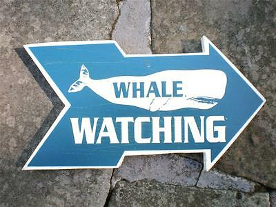 WHALE WATCHING SIGN Weathered Wood Look-Nautical Home Decor Beach Ocean -