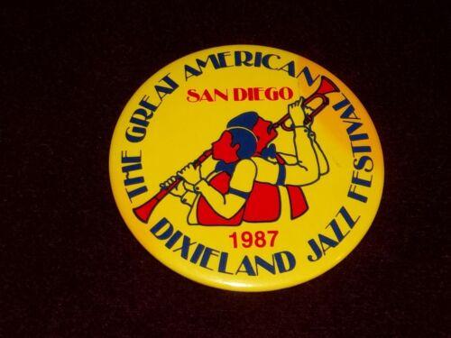 "San Diego Dixieland Jazz Festival Vintage 1987  3"" Pinback Pin Badge Button *"