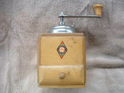 VINTAGE FORGED GARANTIED WESTERN GERMANY COFFEE GRINDER WITH DOVETAIL DRAWER