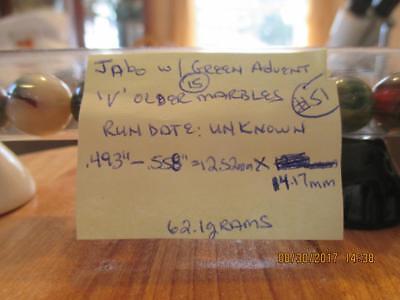 Marble Tube Of 15 Older Jabo Marbles W Green Advent  V  Run  51  493   558