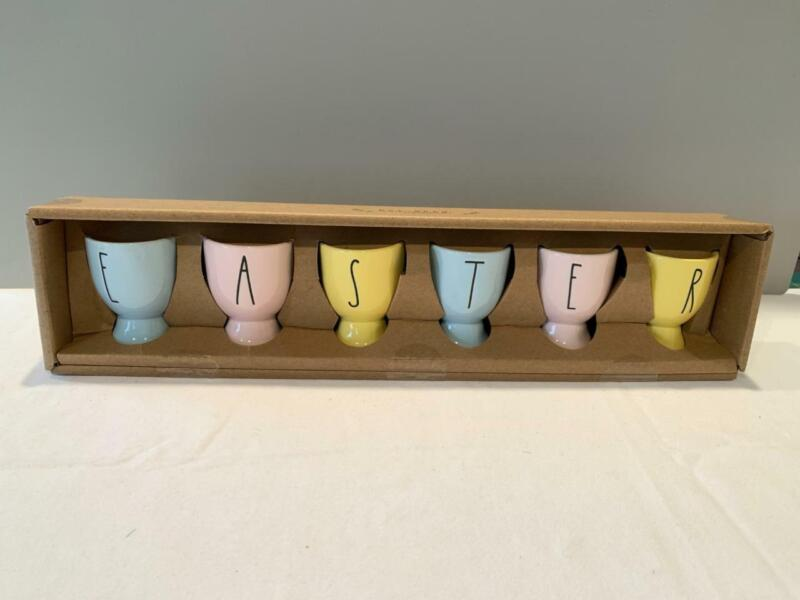 "RAE DUNN by Magenta - ""EASTER"" EGG CUP HOLDERS  - MULTI COLORED - SET OF 6 - NEW"