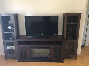 Fireplace tv stand $260 moving sale today Saturday 2-6pm
