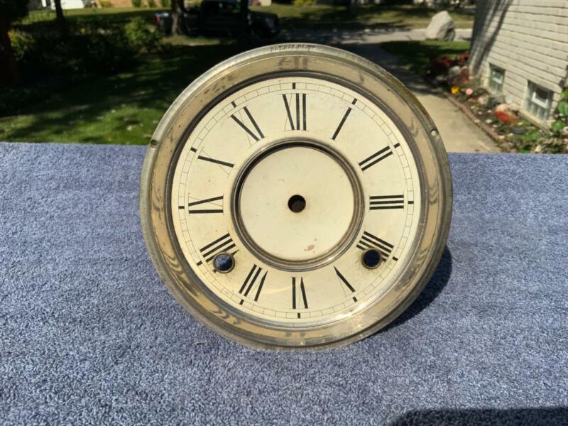 Nickel Dial Pan Parlor Kitchen Shelf Mantle Clock Dial Ansonia Welch Gilbert
