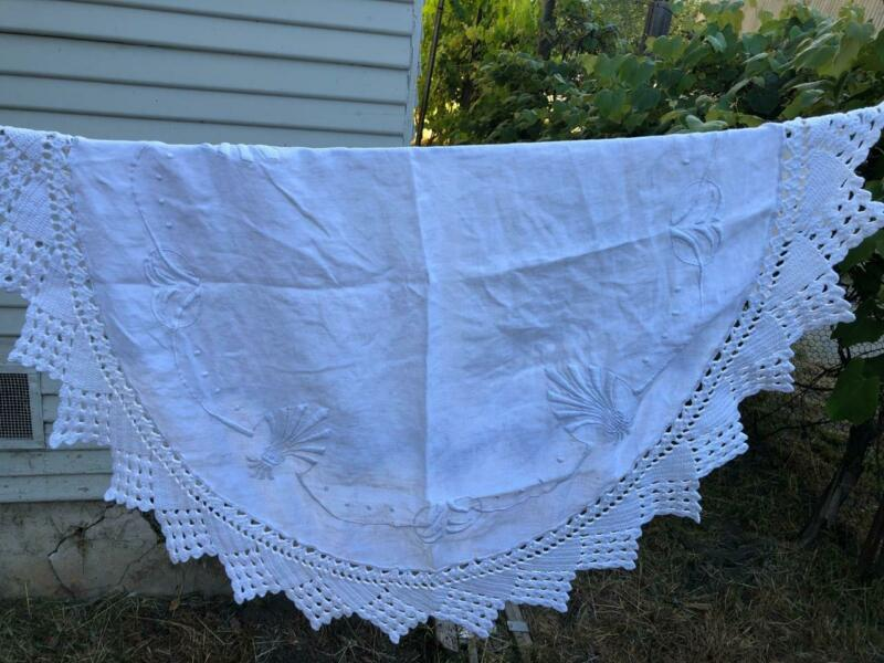 Antique White 100% Linen Arts and Crafts Mission Round Tablecloth Crochet Edge