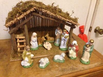 Sears 11 PC Nativity Hand Painted Porcelain Set & Stable #7197930 Manger Box