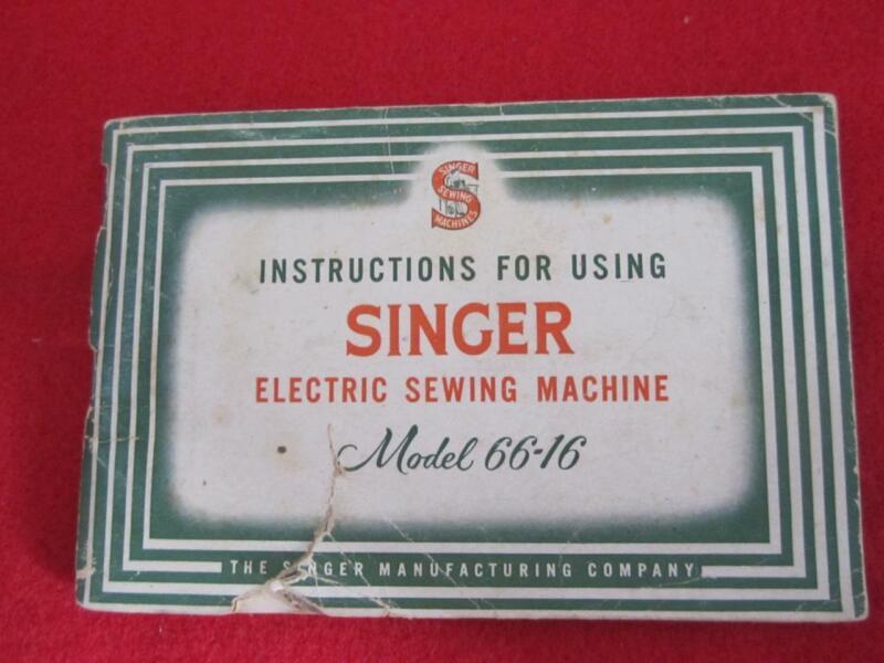 VINTAGE SINGER  SEWING MACHINE  MODEL 66-16 MANUAL 1940- 1954  #1