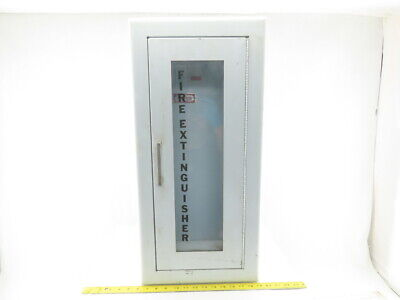 Larsens Wall Mount Semi-recessed Fire Extinguisher Cabinet W Glass 24x9-12x6