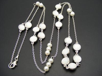 $16 Nordstrom Station Necklace Faux Pearls White Cabochon Beads Silvertone 40""