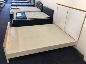 Clearance ! Double/Queen  White Bed Frame with Flatd board base