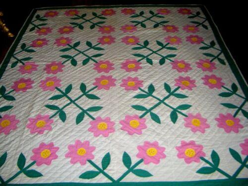 """Rose of Sharon Antique Applique Quilt 90"""" x 79"""""""