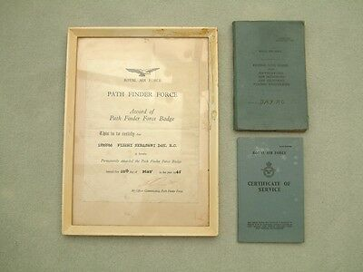 WW II Flying Log Book, Service Record and Path Finder Force Certificate.