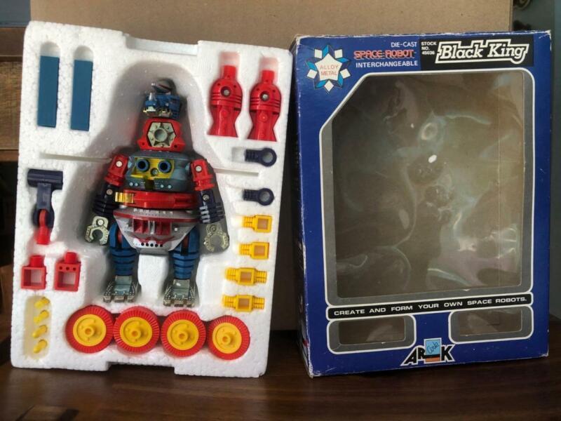 Arkron Black King Space Robot Diecast Figure In Box Vintage Made in Japan Ark Co