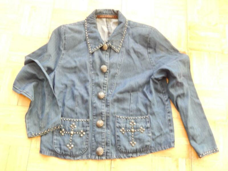 DOUBLE D RANCH WESTERN COWGIRL JACKET MULTIPLE CONCHO STUDS CROSS DSGN - NICE !