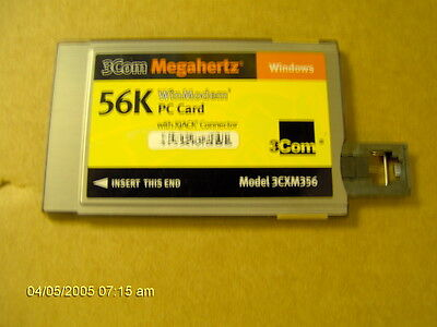 3 COM  WINMODEM 56K PCMCIA CARD WITH X JACK MODEL 3CXM356