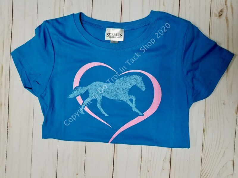 Stirrups Horse In Heart Tee - Childs - Turquoise
