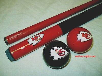 NFL Kansas City CHIEFS Billiard Pool Cue Stick & Team Logo Cue Ball Combo ~ NEW (Logo Billiard Pool)