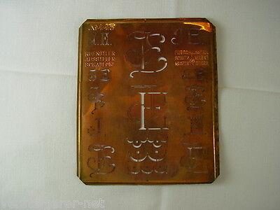 4 x JE Merkenthaler Monogramme, Kupfer Schablonen, Stencils, Patrons broder