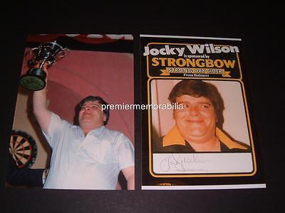 JOCKY WILSON SIGNED (PRINTED) 1982 WORLD DARTS CHAMPION LEGEND PHOTOS