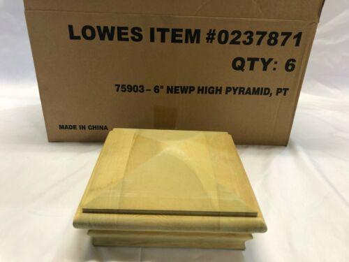 Deckorators 6-in x 6-in Newport High Pyramid Pine Deck Post Cap 6-Pack #237871
