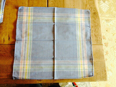 Lot of 3 blue plaid cotton napkins  ~ cute for picnic Basket liner FREE SHIPPING - Picnic Baskets Wholesale