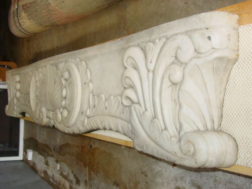Architectural Salvage Marble Mantle 19th Century White/Grey Marble -Authentic