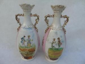 Pair of Victoria Carlsbad Austria Twin Handled Pictorial Bulbous Urns Vases 9.5