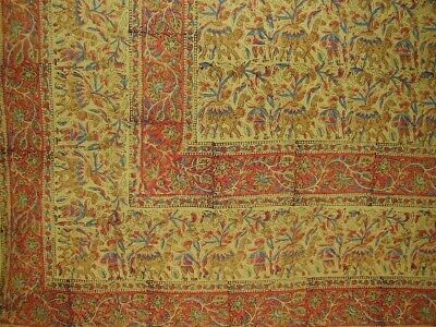 "Indian Block Print Tapestry Cotton Bedspread 108"" x 88"" Full-Queen Green"