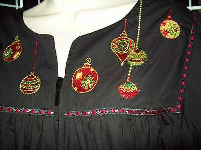 NWT GO SOFTLY HOLIDAY CHRISTMAS PARTY HOUSE DRESS POPLIN ZIP FRONT MUU BLACK Poplin Party Dress