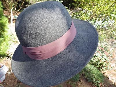 Vintage Lancaster Wool Felt Gray Wide Brim Hat with Mauve Band