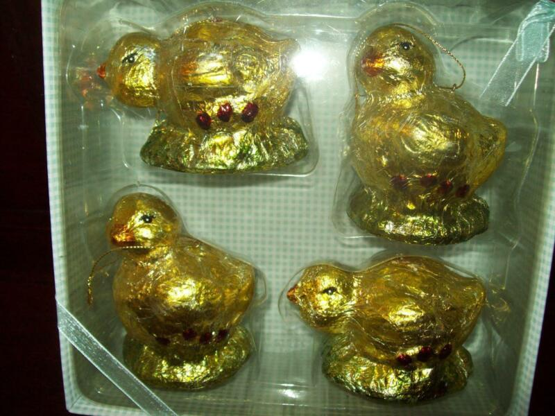 New SET of 4 FOILED FAKE CHOCOLATE EASTER CHICKENS ORNAMENTS w loop for hang