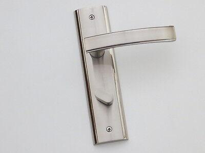 PAIR LUXURY SATIN NICKEL/POLISHED CHROME PRIVACY DOOR HANDLES 200MM LONG