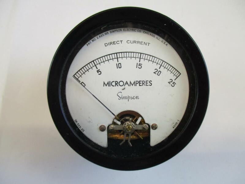 Vintage Simpson Panel Meter DC Microamperes 0-25