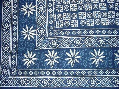 """Dabu Indian Tapestry Cotton Spread 106"""" x 72"""" Twin Blue"""