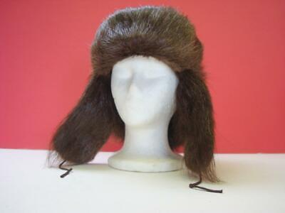 a153453d48cf49 Vintage Dark Brown Fur Trapper Hat Nicely Lined with Ear Flaps - Estate Find