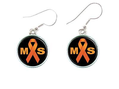 Multiple Sclerosis Awareness Orange Ribbon Silver Hook Earrings Jewelry Family - Multiple Sclerosis Ribbon
