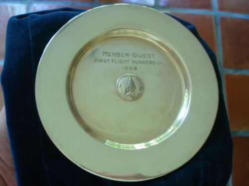Scarce Vintage PINE VALLEY GOLF CLUB STERLING SILVER Trophy Plate JE Caldwell Co