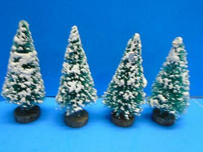 "Vintage Lot of 4 Bottle Brush Christmas Trees 3"" Wood Base Mica Putz Village"