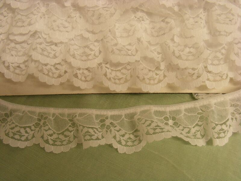 Gathered Lace White 20 metres (360)