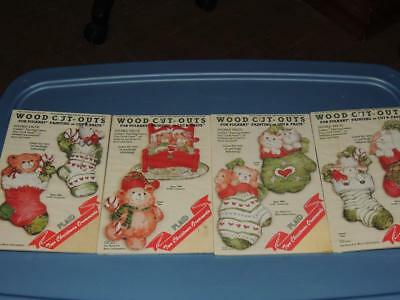4 WOOD CUT-OUTS PAINT OR PASTE MAKES 8 ORNAMENTS STOCKING LAMB BUNNY BEAR KITTEN