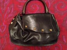Leather Bag with Polished Wood Handle Mandurah Mandurah Area Preview
