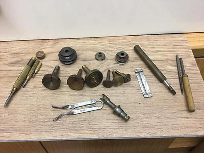COLLECTION OF VINTAGE WATCHMAKERS TOOLS & LATHE PARTS