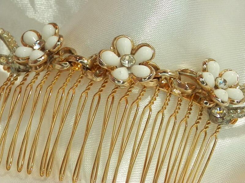 RARE Plastic Flower Rhinestone Wedding Gold Tone Vintage 1960