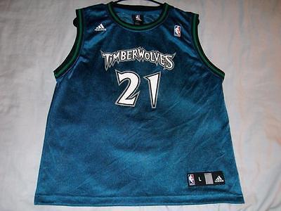 Kevin Garnett 5 Minnesota Timberwolves NBA adidas Blue Jersey Boys Large 14-16