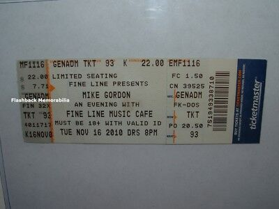 MIKE GORDON Concert Ticket 2010 MINNEAPOLIS FINE LINE MUSIC CAFE Very Rare PHISH Fine Line Music