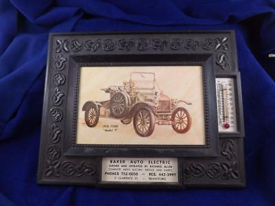SIGN THERMOMETER BAKER AUTO ELECTRIC BRANTFORD ONTARIO 1910 FORD MODEL T CAR