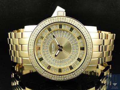 Mens 47 Mm Jojino Joe Rodeo Aqua Master Gold Metal Band Diamond Watch Mj 1177