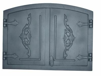 Cast Iron Fire Door Clay Bread Oven Pizza Stove Quality Grey (G) 42 x 56