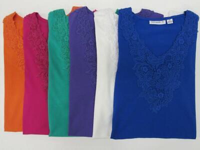NEW Susan Graver Crocheted Trim Short Sleeve Stretch Cotton Shirt Top Womens