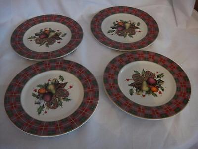 Lenox  Holiday Tartan Party Dessert Plates Set Of 4 New in Box